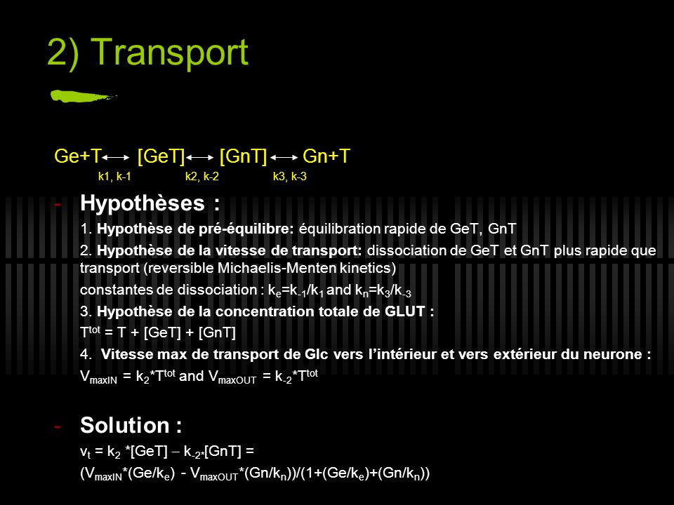 2) Transport Hypothèses : Solution : Ge+T [GeT] [GnT] Gn+T